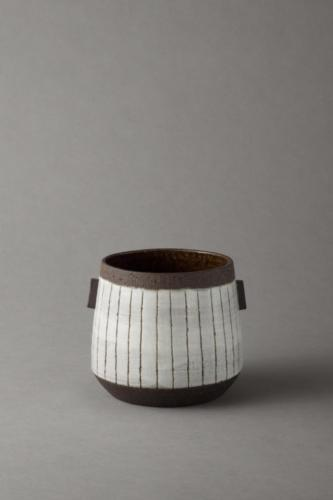 black and white stripy vessel