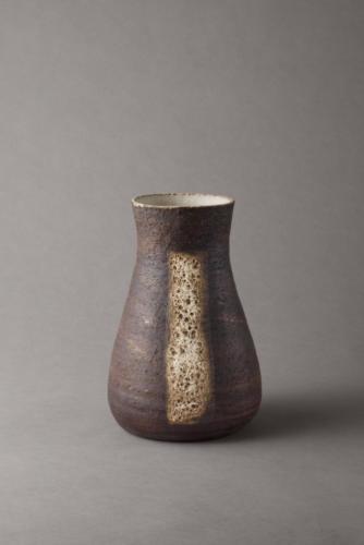black vase with lava glaze