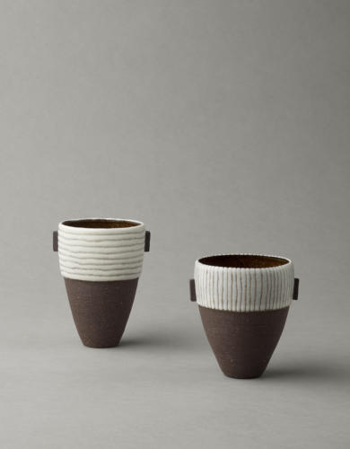 black  white stripy vessels