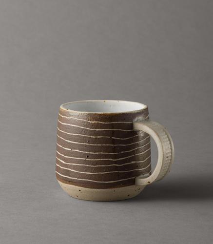 brown stripy coffee mug