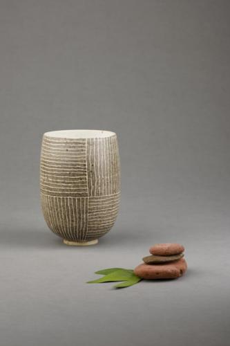 Brown stripy vase