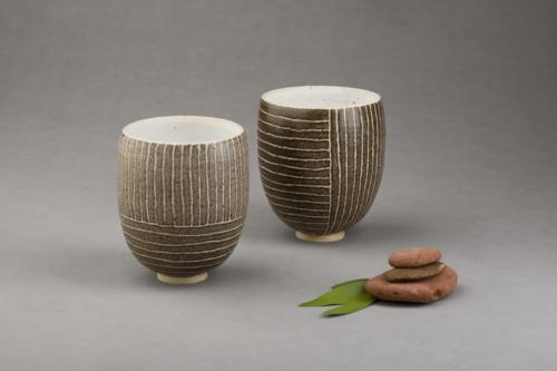 Brown stripy vases